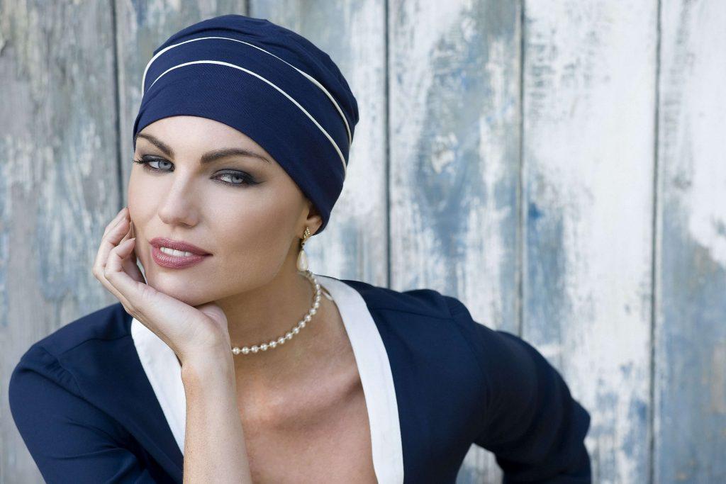 striped chemo cap blue white