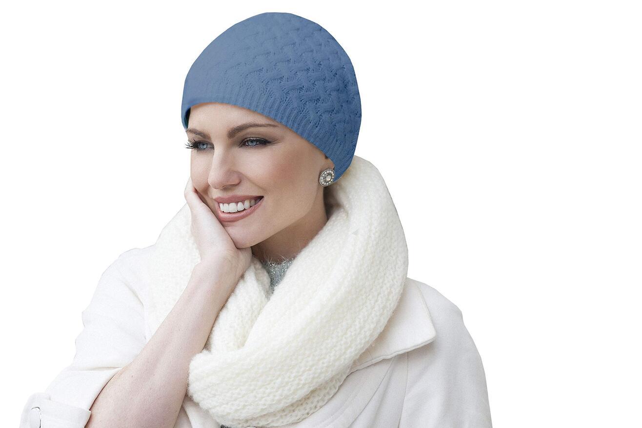 blue knit winter chemo hat