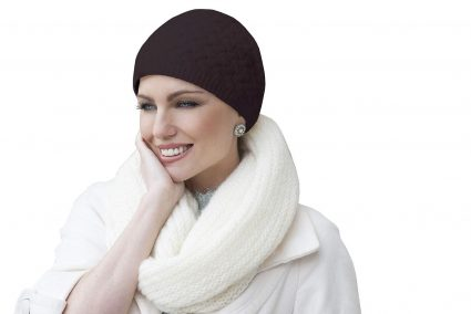 brown knit chemo hat for winter