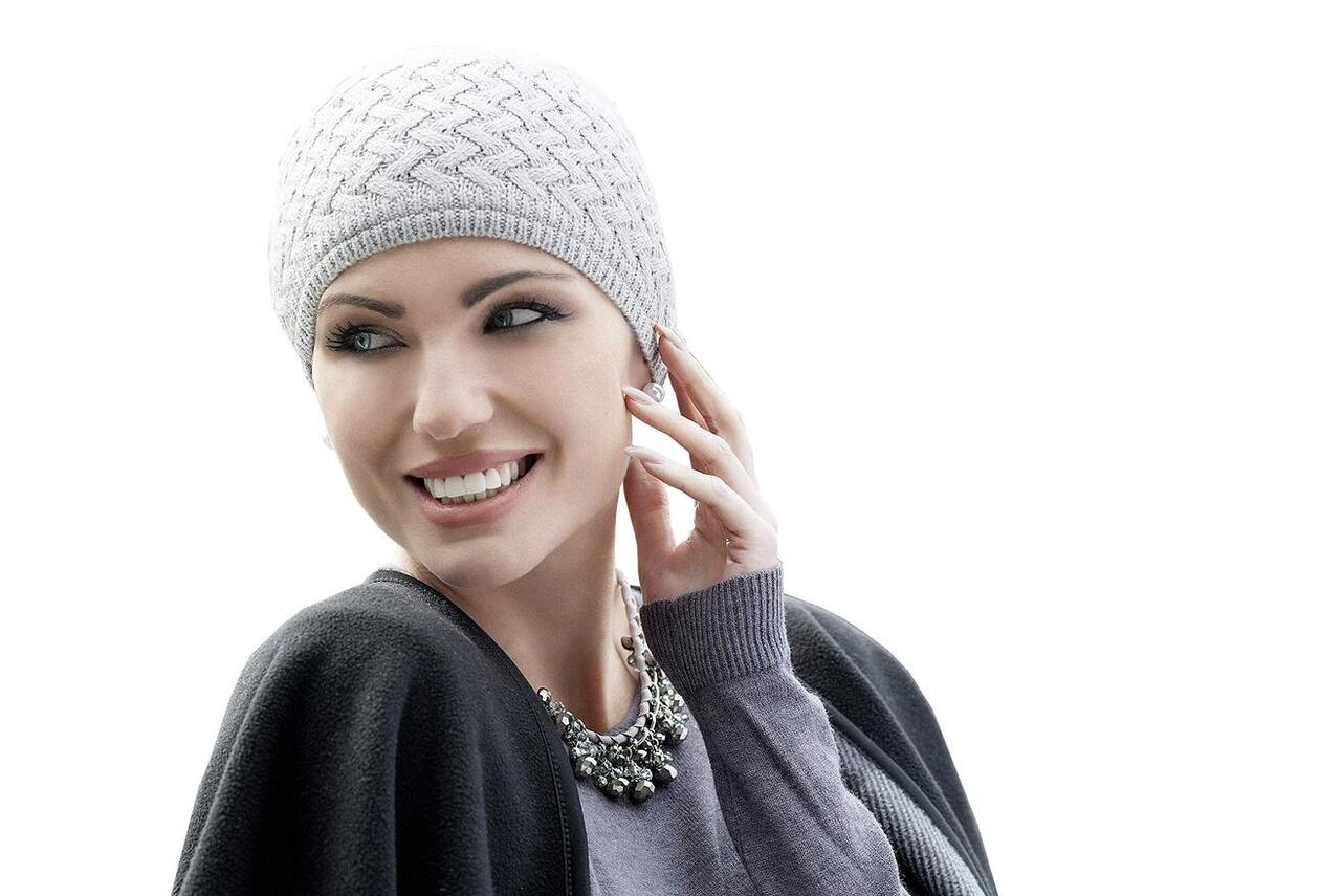 grey knit chemo hat for winter