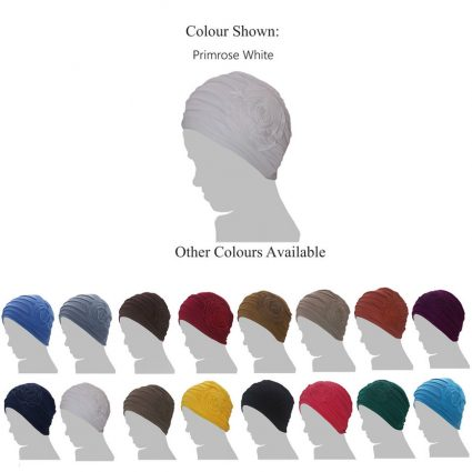 primrose chemo cap with flower silhouette color variants