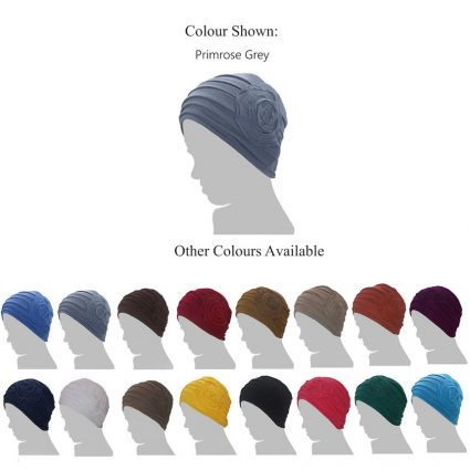 grey chemo cap with flower silhouette