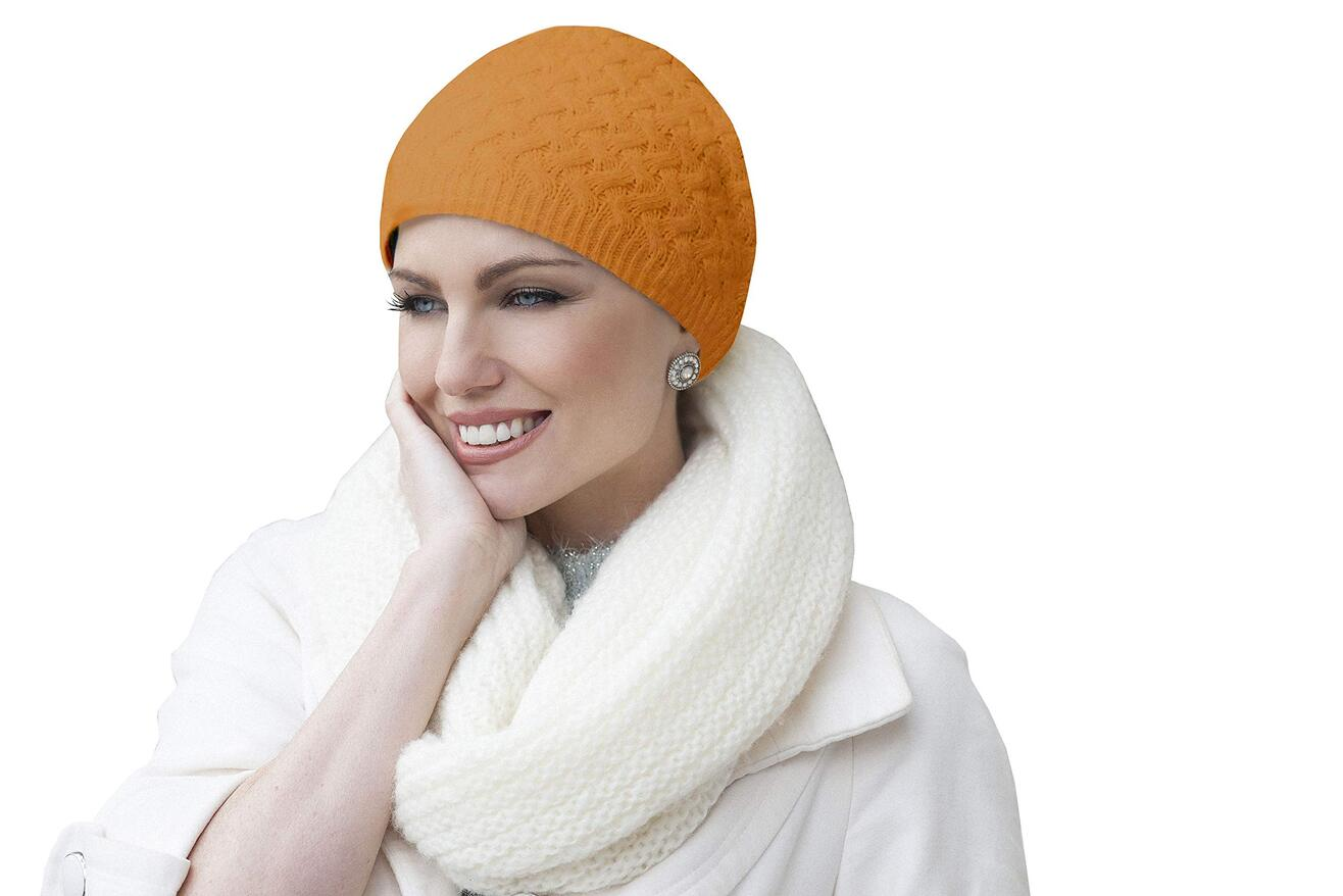 knit orange chemo hat for winter