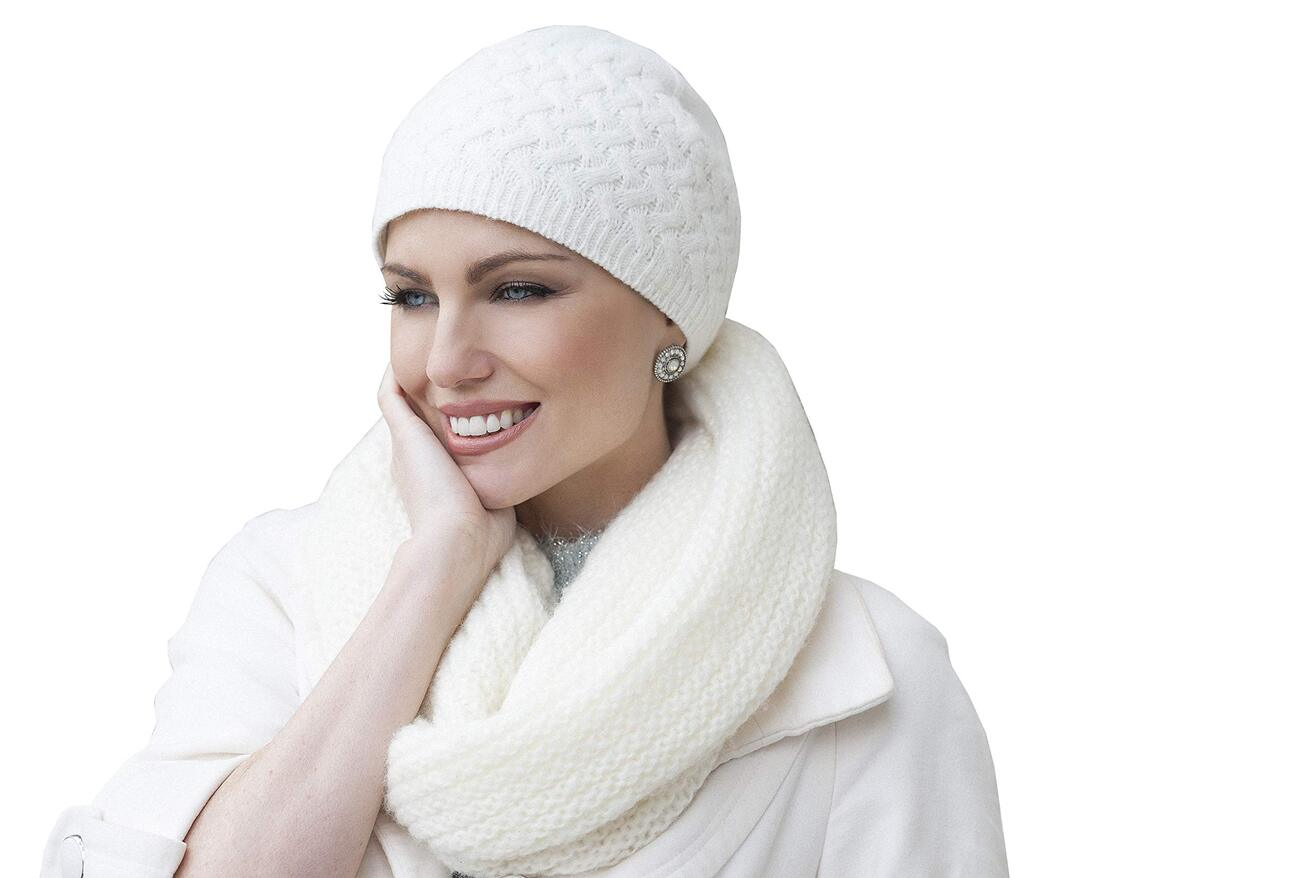 knit white chemo hat for winter