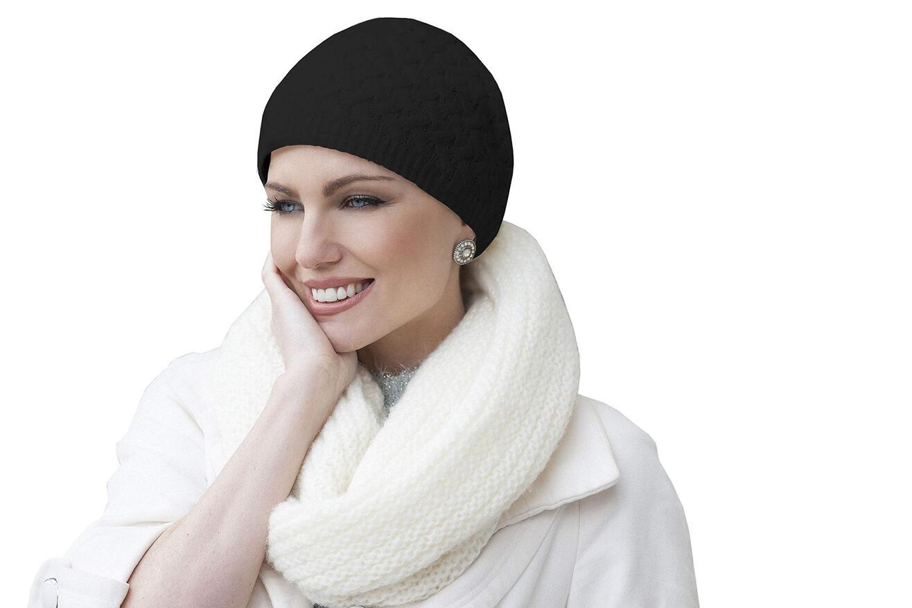 anja knit winter chemo hat black