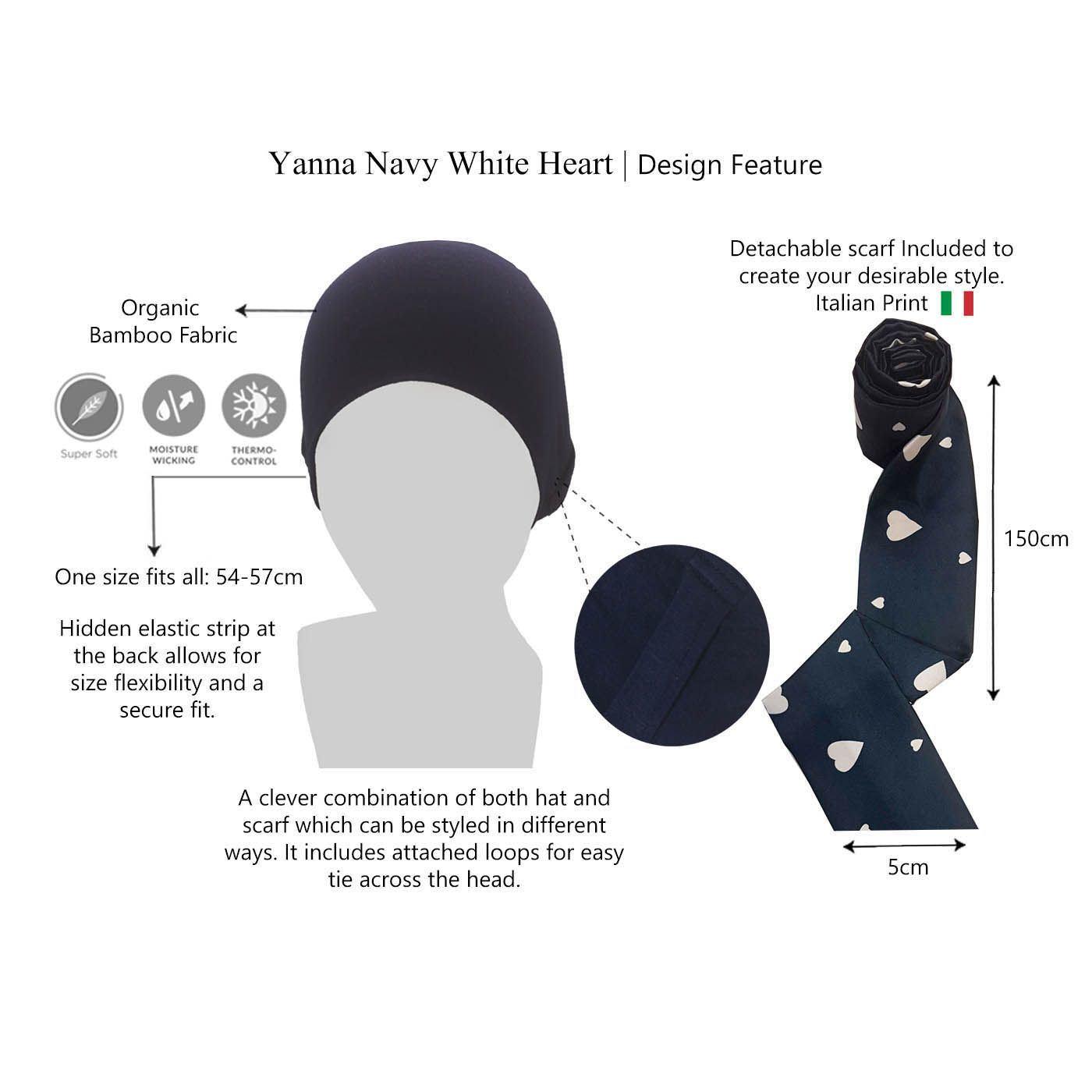 Yanna Navy White Heart