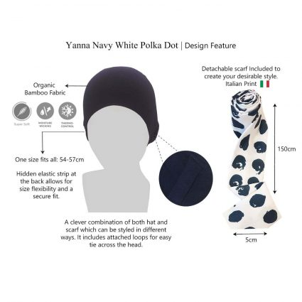 Yanna Navy White Polka Dot chemo hat features