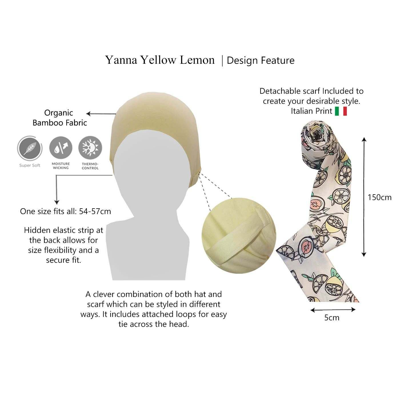 Yanna Yellow Lemon- Head wraps for women