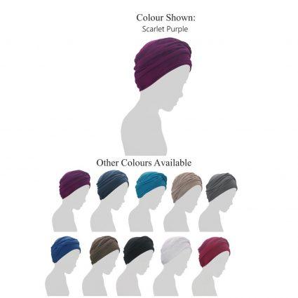 scarlet ruffled chemo cap color variations