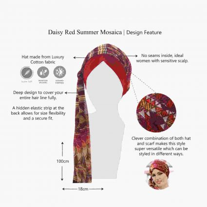 daisy red mosaica features chemo hat