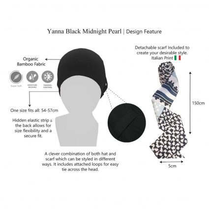yanna black midnight pearl chemo hat features