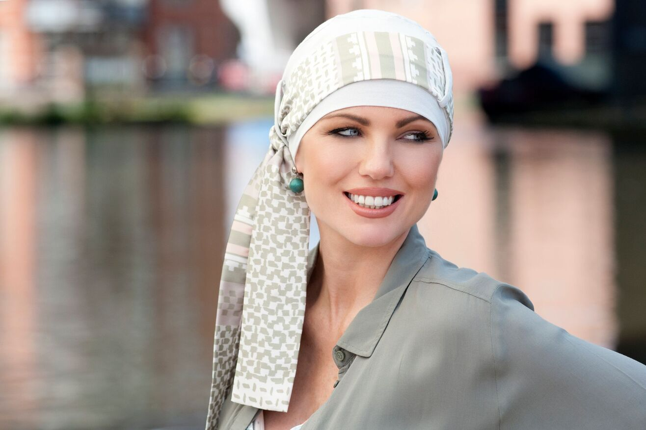 ivory green chemo hat