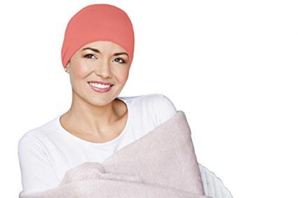 Sleeping Hat Coral Organic Cotton Headwear for Women with Chemo Cancer or Alopecia Hair Loss.