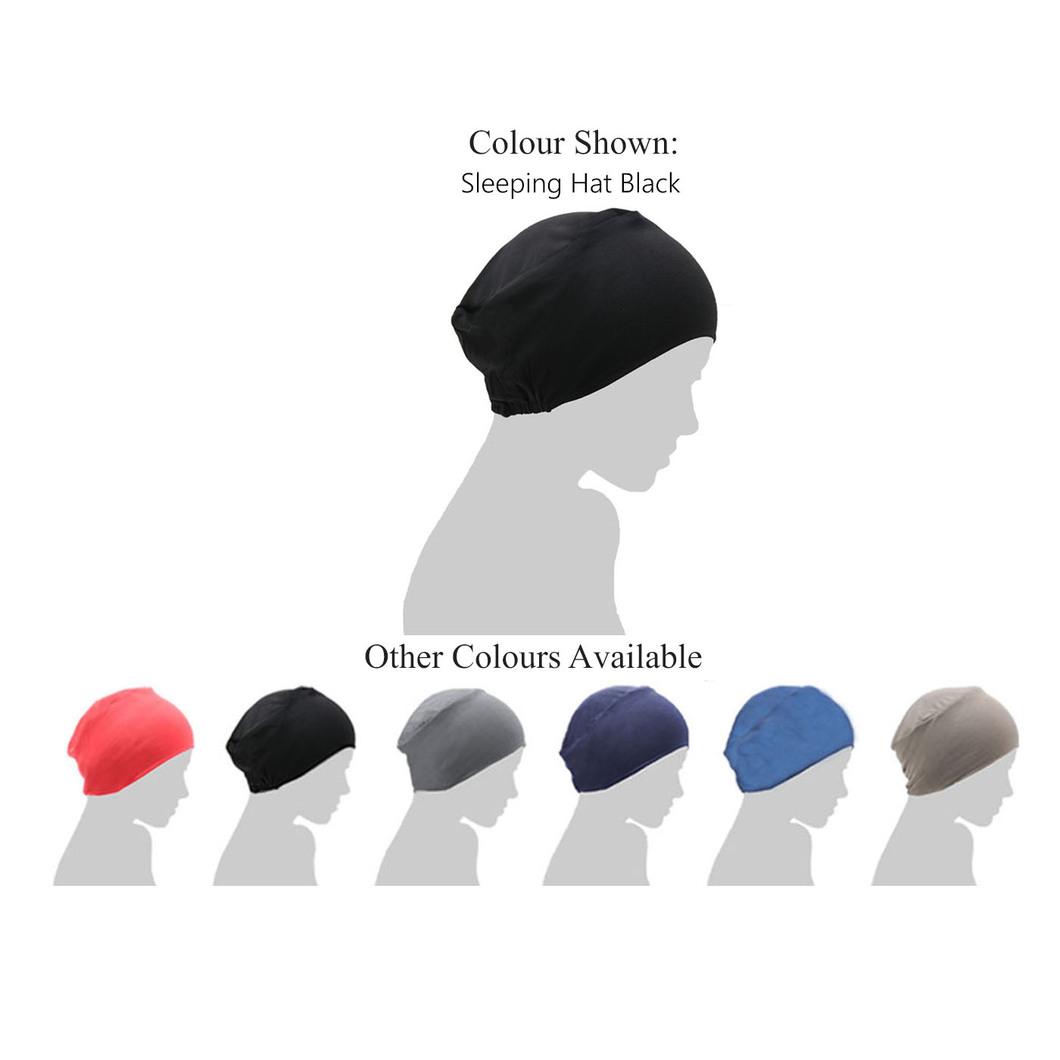 black chemo sleeping hat