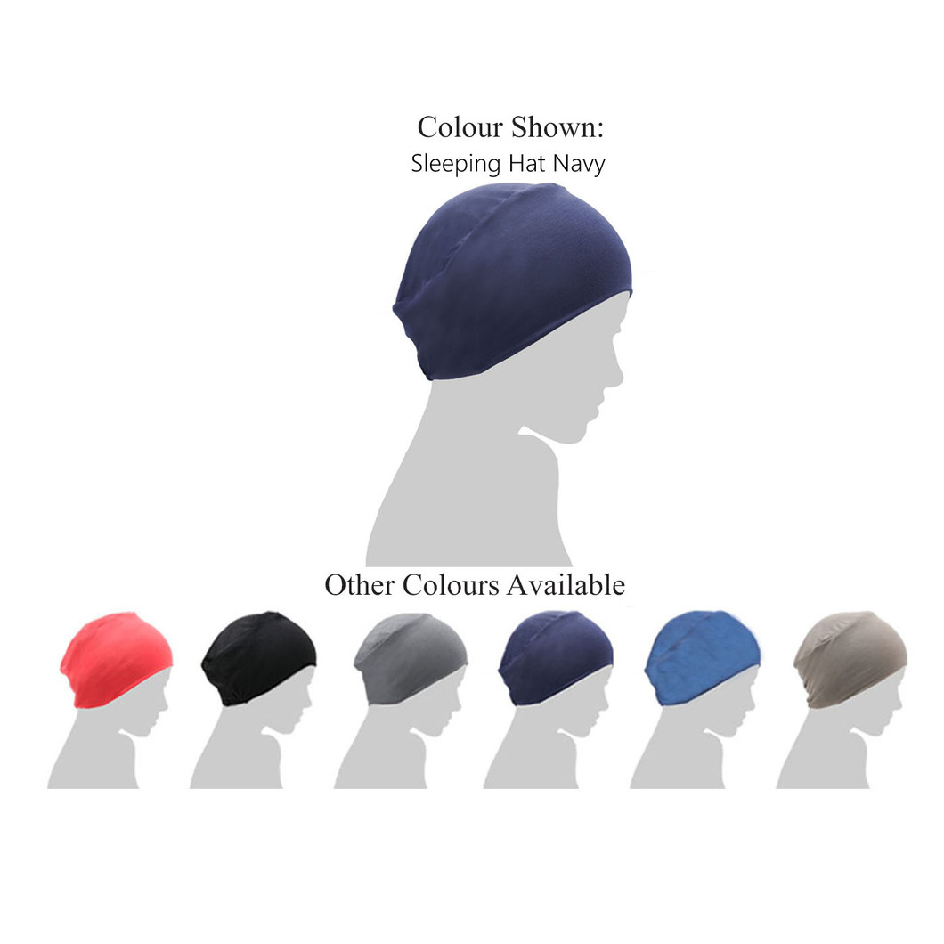 navy blue chemo sleep cap