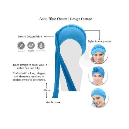 light blue tied chemo hat asha features