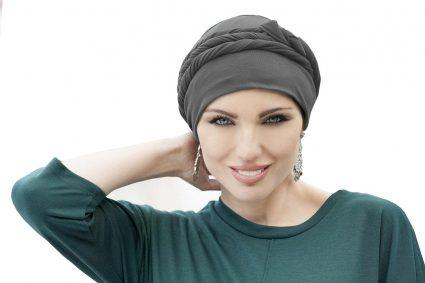 woman wearing asha tied grey chemo hat