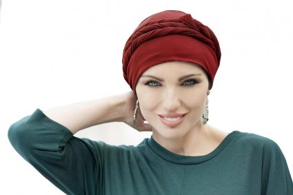 red tied chemo hat