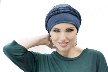 tied chemo headwear navy