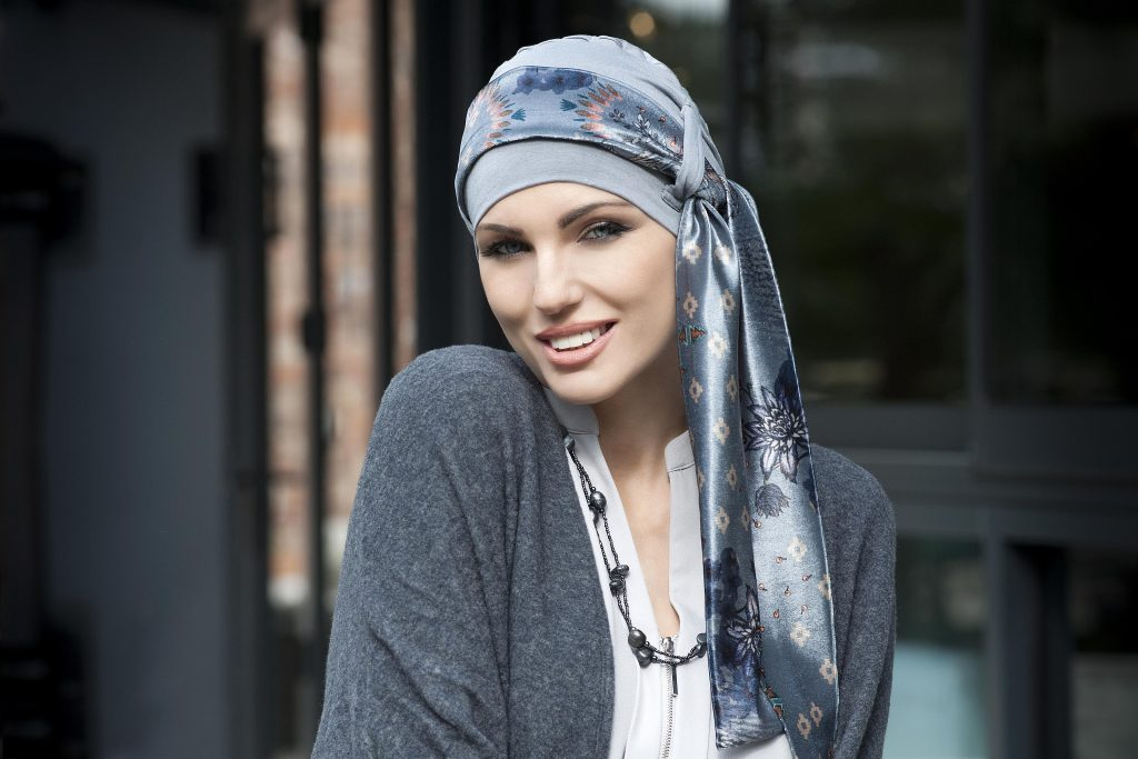 Headscarves for cancer patients - Yanna Grey Velvet Blu Fiori Bamboo Hat with velvet grey scarf