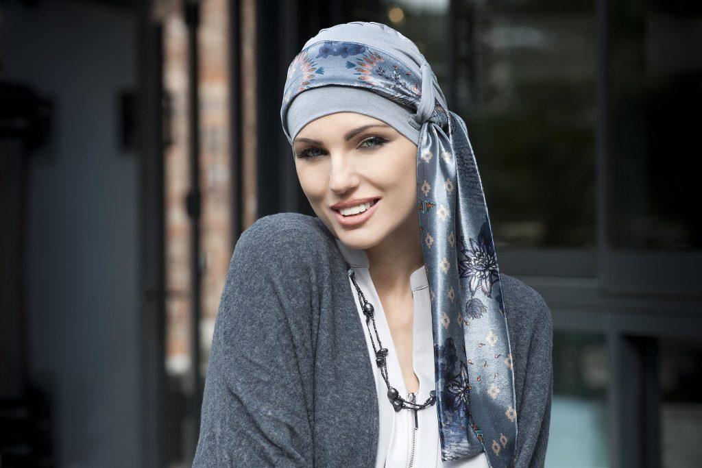 Yanna Grey Velvet Blu Fiori Bamboo Hat with velvet grey scarf