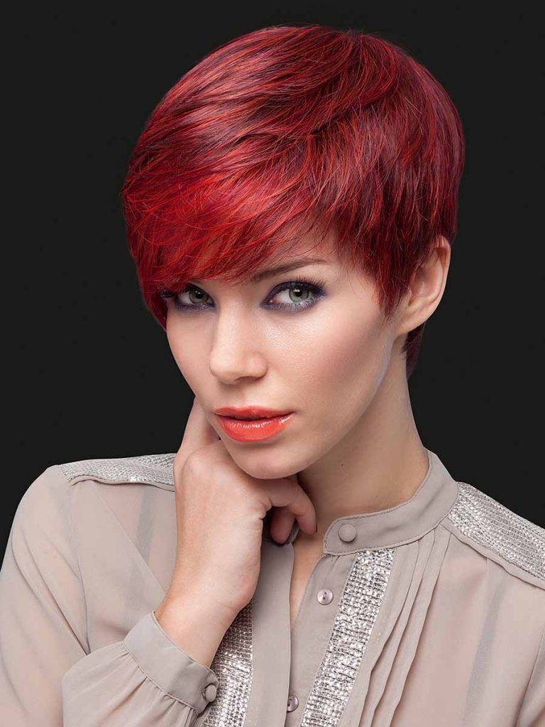 synthetic wig short red