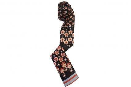 Black flower pattern chemo scarf