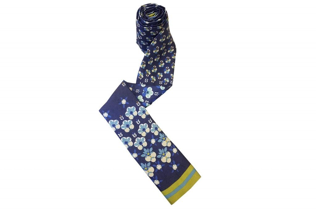 blue floral chemo scarf