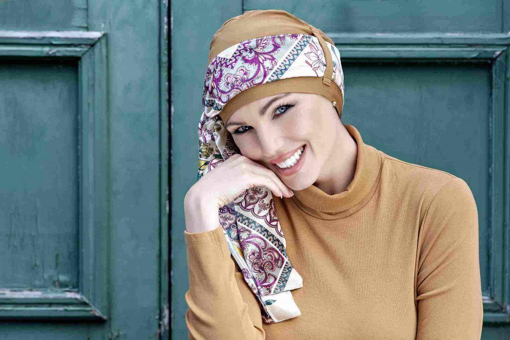 Chemo Headwear UK Yanna Camel Velvet Fiori Viola