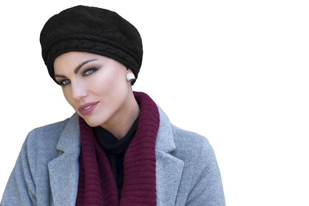 black knit chemo hat