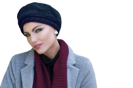 blue navy knit hat for chemo patients