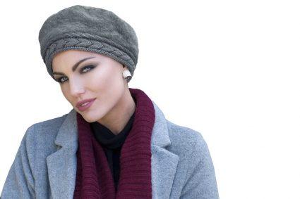 grey crochet chemo hat