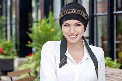 luxury heawear for cancer yanna black golden diadem
