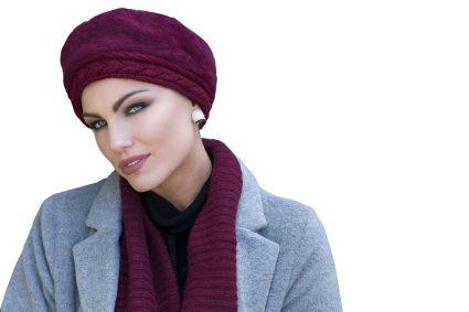 woman wearing maroon crochet chemo hat Florence