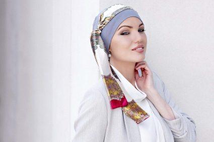 yanna grey velvet alba rossa grey chemo cap with scarf