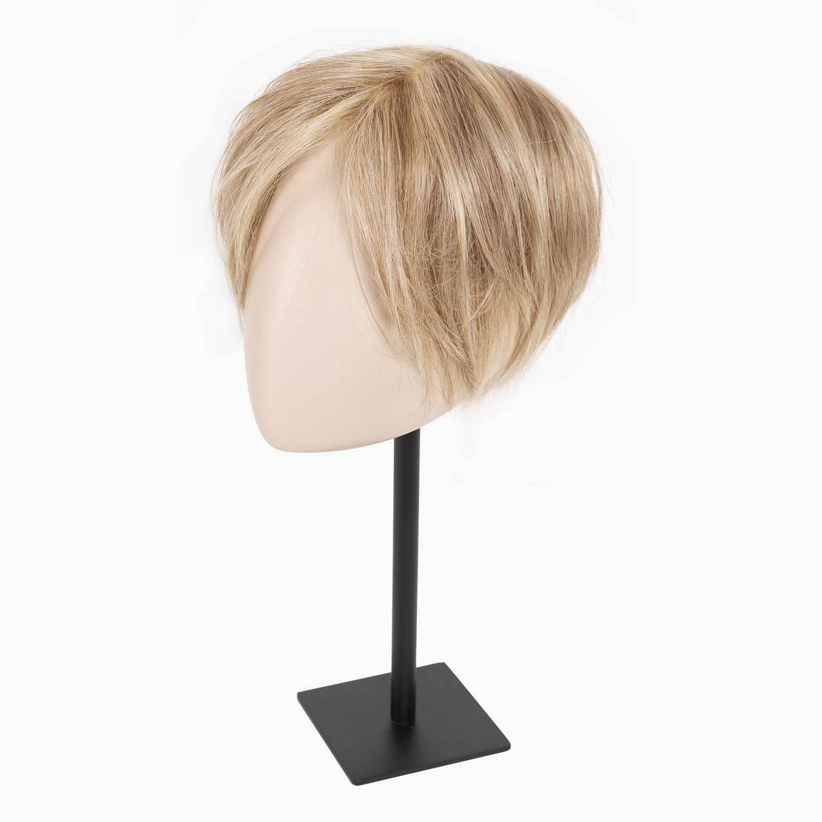 Blonde hair topper on display stand