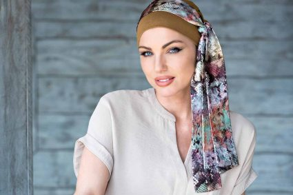 Bamboo Chemo Cap with Snake Print tie - Detachable