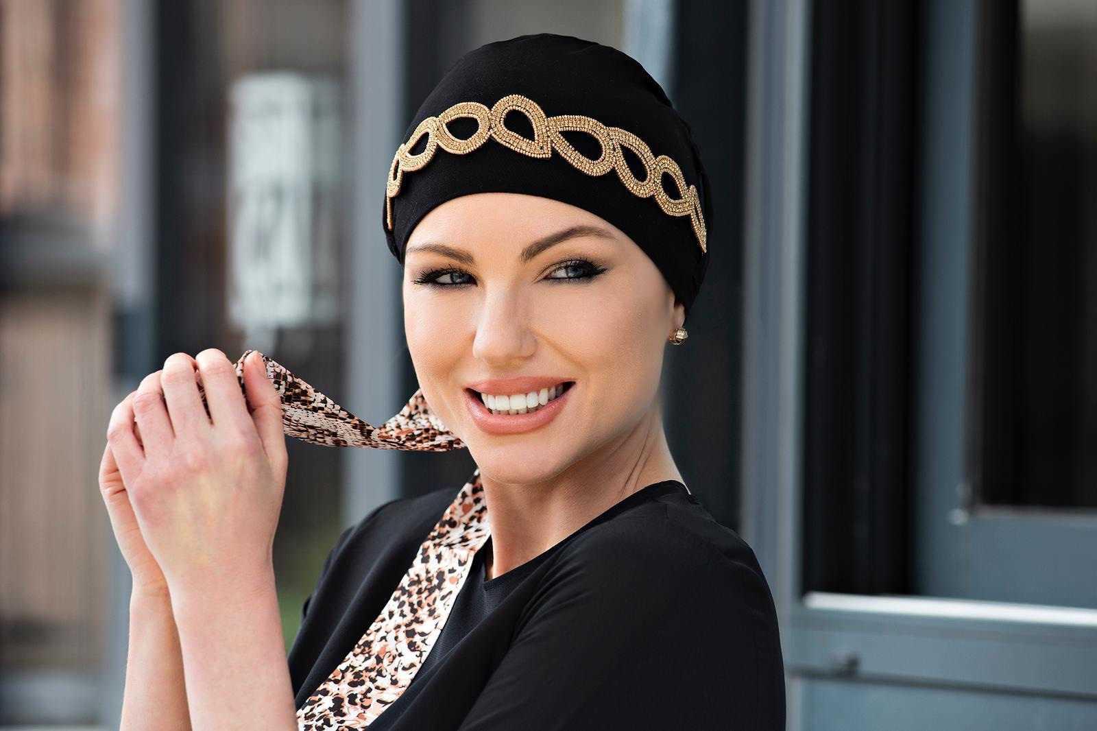 Black Chemo Cap with Jewel