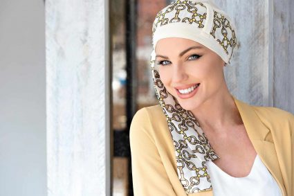 Golden White Chemo Cap with a Scarf Tie