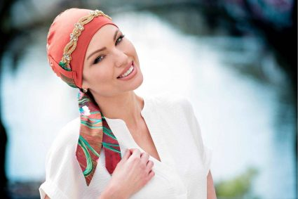 Jeweled Chemo Cap Jewelled with a hair scarf