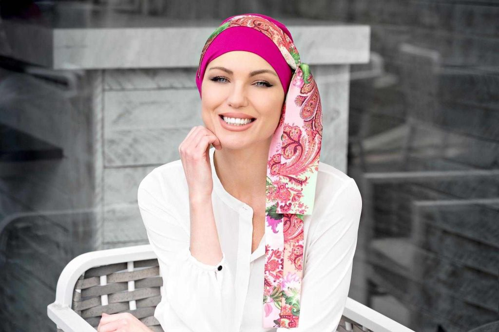Yanna Purple Royal Fuchsia Purple Bamboo Chemo Cap, Floral Scarf