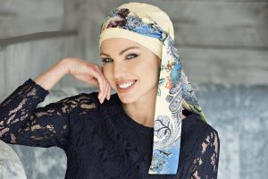 chemo cap with detachable scarf yanna yellow royal blue