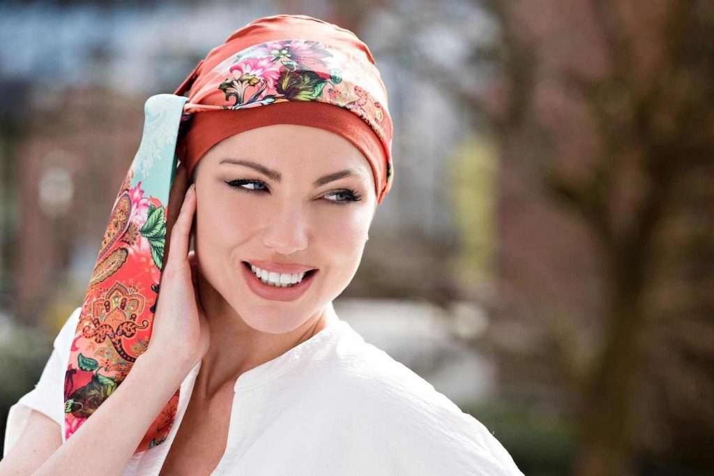 orange floral pattern chemo cap with scarf