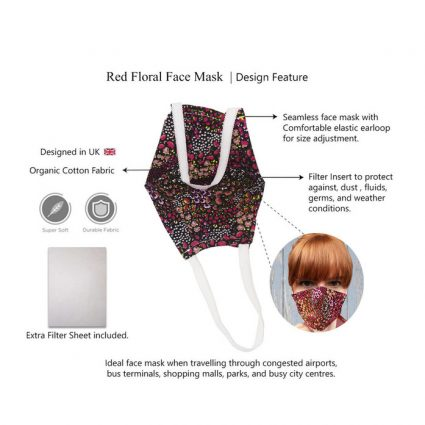 nose face mask red details features