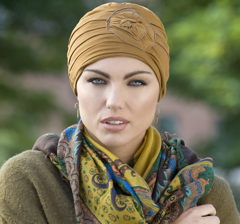 Woman wearing Chemo hat in camel